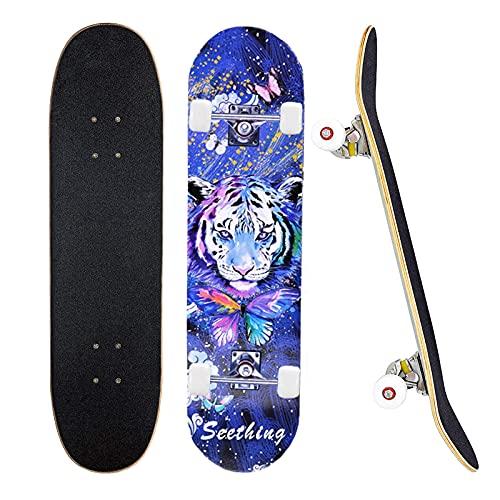 78,7 x 20,3 cm komplettes Skateboard für 7-lagiges Ahorn-Deck Doppel-Kick-Deck, Standardboards für Jungen, Mädchen, Teenager, Erwachsene, Anfänger (blau)