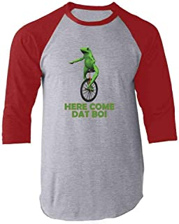 Here Come Dat Boi Meme Frog Funny Unicycle Raglan Baseball Tee Shirt