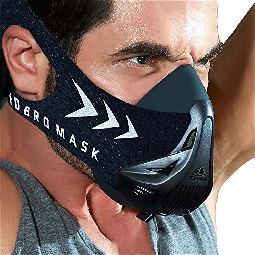 FDBRO Trainingsmaske Workout Maske- High-Altitude-Endurance-Maske erhöht die Kraft, Laufwiderstand Atemmaske mit Tragetasche (Schwarz, M)