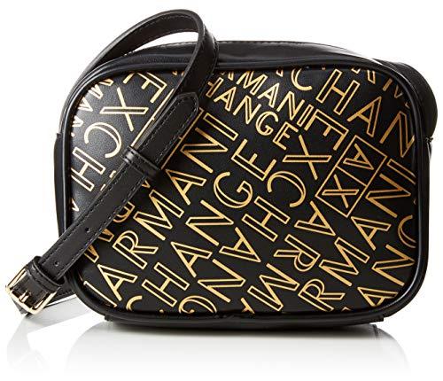 Armani Exchange - Small Crossbody Bag, Bolsos bandolera Mujer, Dorado (Black/Gold), 13x6.5x18 cm (B x H T)