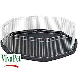 Vivapet Octagon Rabbit/Puppy/Hamster/Guinea/Pig/Cat/Kitten Run Cage Pen With 8-Panel, Silver, Small (34-Inch Wide, 8-Inch High)