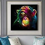 wZUN Carteles e Impresiones de Arte Mural Animales imágenes de Arte Callejero en Mono Arte Lienzo decoración de la Pared del hogar 60x60 Sin Marco