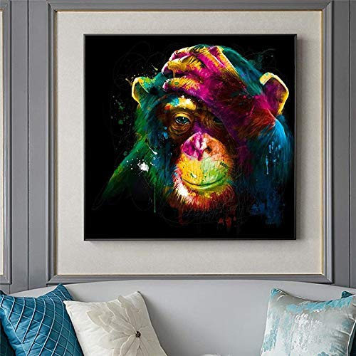 wZUN Mural Art Posters and Prints Animals Street Art Pictures on Monkey Art Canvas Home Wall Decoration 60x60 Frameless