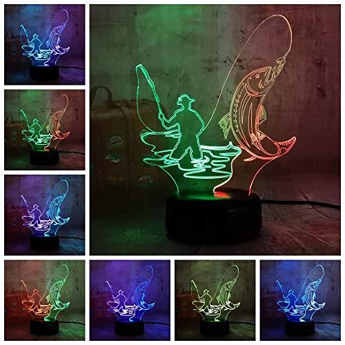 Neue chinesische Art Fischer Mann Dual Mixed Luster Neuheit 3D LED Nachtlicht USB Tischlampe Kinder Geburtstagsgeschenk Nachtzimmer Raumdekoration