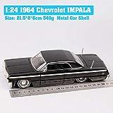 XJJSZJ Niños 1/24 Escala Big Jada 1964 Chevrolet Impala Diecast Vehículo de Juguete Chevy Sports Coupe Auto Modelo de Coche Replicas HobbyB