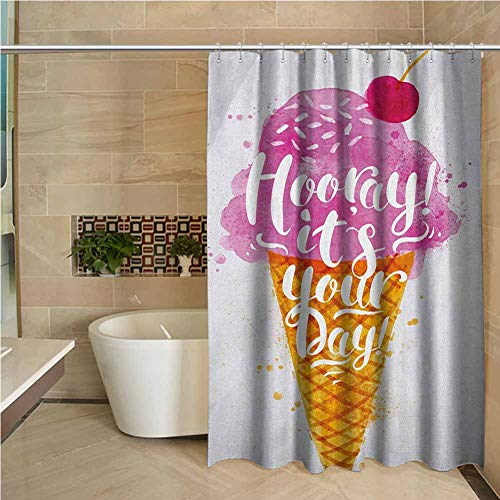 Review Kids Shower Curtain Ice Cream Hooray! Its Your Day Phrase with Ice Cream Cone Cherry Flavor P...