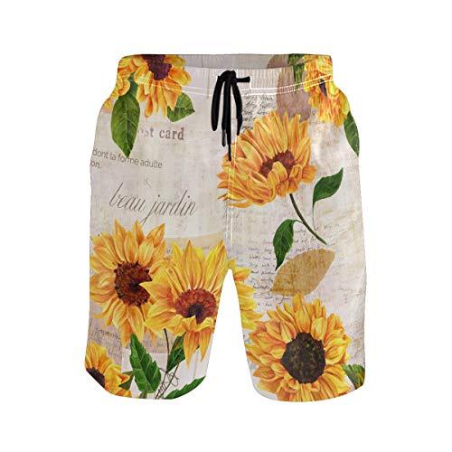 BKEOY Shorts Sonnenblumen Vintage Postkarte Herren Strand Shorts Sommer Quick Dry Surf Board Badehose mit Netzfutter Gr. Verschiedene Größen, multi