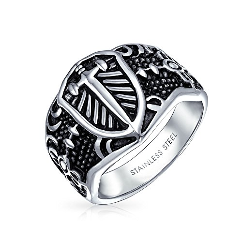 Stainless Steel Celtic Medieval Cross and Shield Mens Ring,size:12