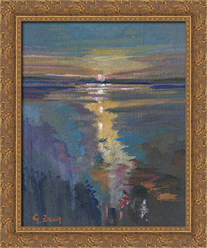 Zucca, Gianfranco 28x36 Gold Ornate Framed Canvas Art Print Titled: Sunset on The Sea Sardinia Italy