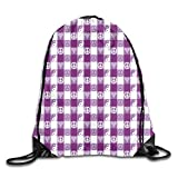 Print Drawstring Backpack,Plaid Pattern With Hearts Ying Yang And Sign Of Peace Pax Cultura Theme,Beach Bag for Gym Shopping Sport Yoga