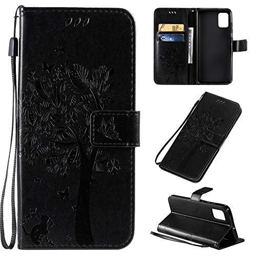 MAXJCN Funda para Samsung Galaxy A51 4G, diseño de gato y árbol en relieve de piel tipo cartera, funda con soporte para tarjetas y muñeca (color negro)