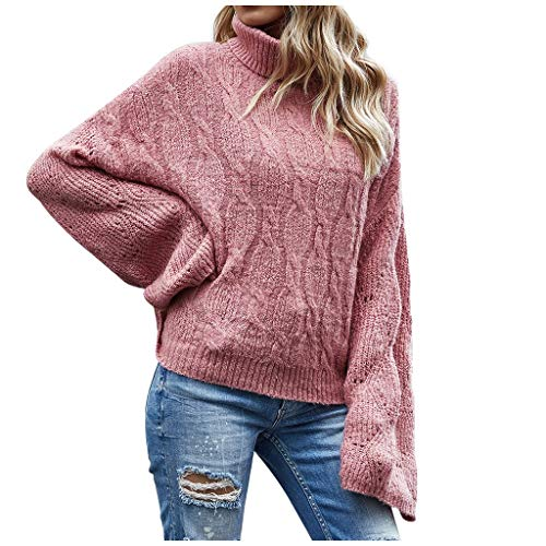 Lazapa Women Turtleneck Knit Sweater Oversized Batwing Flare Long Sleeve Pullover Sweaters Casual Loose Sweater Pullover Pink