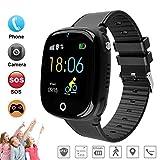 Smart Watch Phone for Child, GPS Tracker Reloj de pulsera inteligente para niños de 3-16 años de edad, con cámara SOS Ranura para tarjeta SIM Pantalla táctil Juego SmartWatch Actividades al aire libre Juguetes Regalo del día de los niños (Negra) (GSM solamente)
