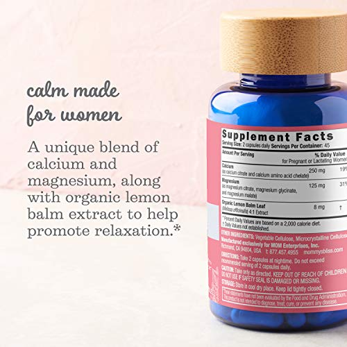 Mommy's Bliss Calm + Magnesium Supplement, Made for Women, Support Magnesium & Calcium Levels, Supporting Relaxation with Lemon Balm Extracts, Non GMO, Vegan & Gluten Free, 90 Capsules (45 Day Supply)