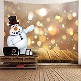 xkjymx Navidad Tapiz de Viento Navidad muñeco de Nieve árbol de Nieve Campana patrón Colgando Tela Perro de Nieve 180 * 180 CM