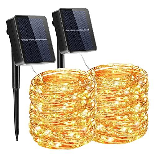 Solar Lichterkette Außen, FOCHEA 2 Stück 12M 120 LED Solar Lichterkette Aussen Kupferdraht Solarlichterkette Warmweiß Weihnachtsbeleuchtung Wasserdicht 8 Modi für Garten, Balkon, Party Deko