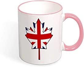Beautiful Color Mug Mouth And Handle British Flag Canada Maple Leaf tea cup coffee cup pink-style1