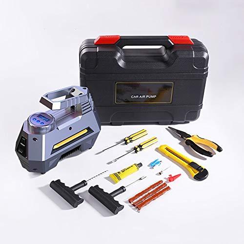 WNN-URG Digital neumático del, Bomba portátil compresor de Aire, Bomba de Coche del neumático del con Ajuste automático de Cierre, Linterna LED, Herramienta de Regalo URG