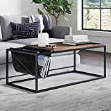 Nathan James 31401 Felix Modern Coffee Table with Wood Tray Top Vegan Leather Storage and Industrial Matte Steel Rectangle Metal Frame, Nutmeg/Black