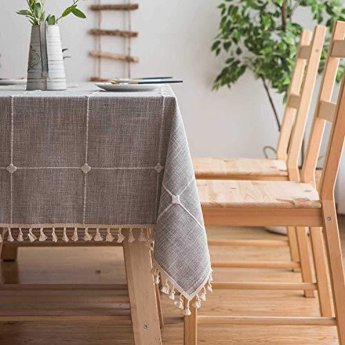 Topmail Rechteckige Tischdecke Tischwäsche abwaschbare Tischtuch aus 80% Baumwolle und 20% Leinen Geeignet für Home Küche Dekoration (Hellgrau, 140 x 240 cm)