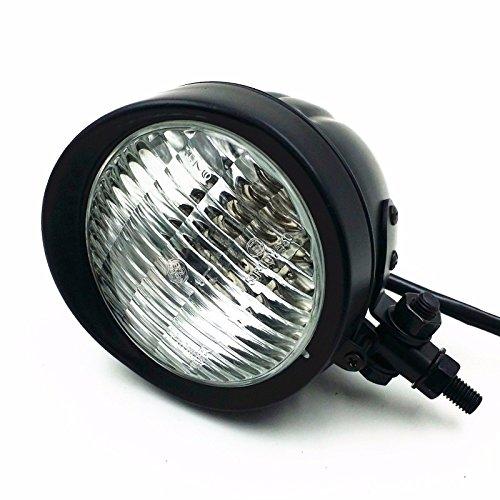 Retro Metall 60 Watt / 55 Watt Motorrad Kugelkopf Licht Lampe Scheinwerfer für Cruiser Chopper Cafe Racer Bobber (Schwarz / Klar)