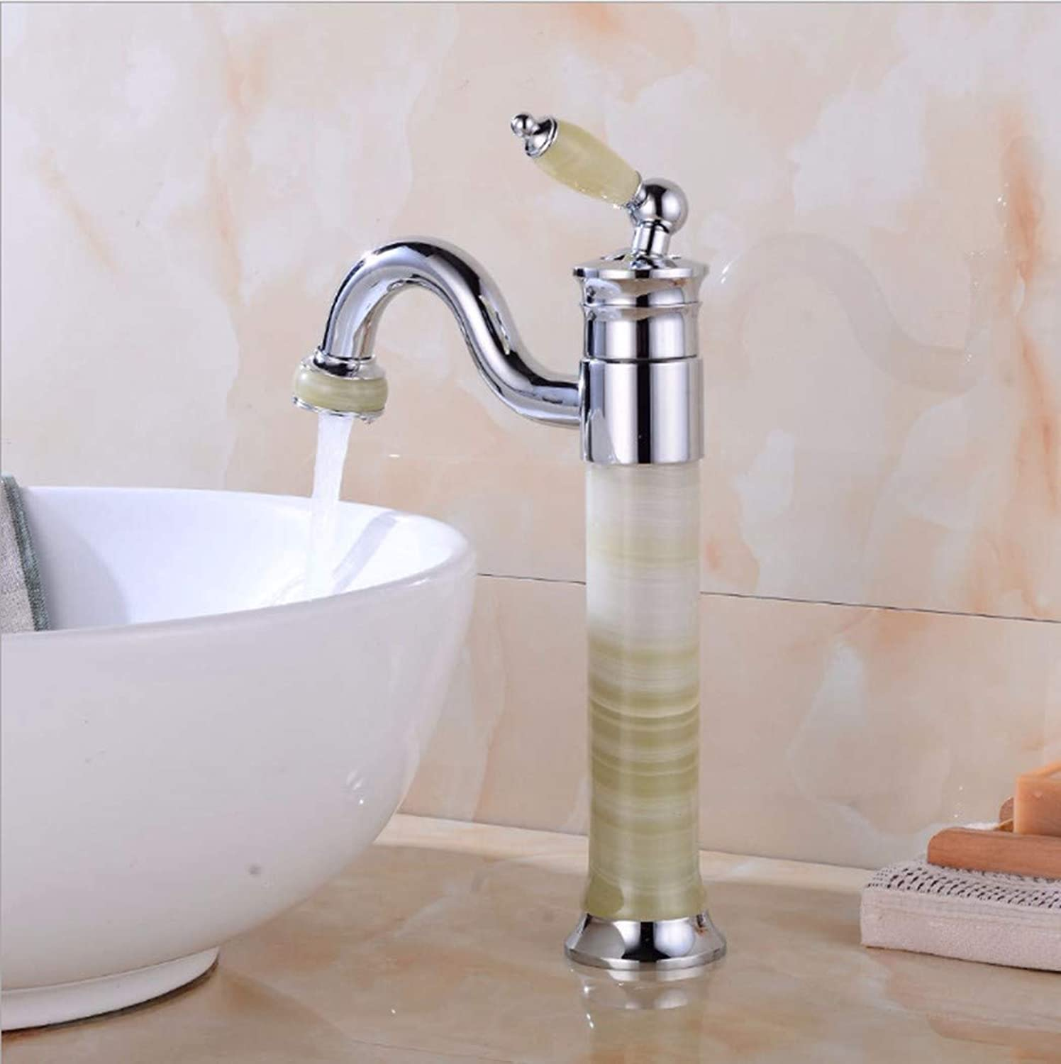 PatTheTap Bathroom Faucet Retro Copper Metal Jade Swivel for Washbasin Hot and Cold Water Mixing