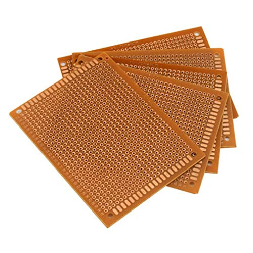 WEQQ 10PCS Prototype Paper Printed PCB Leiterplatte Single Side Strip Breadboard (Brown5x7cm)