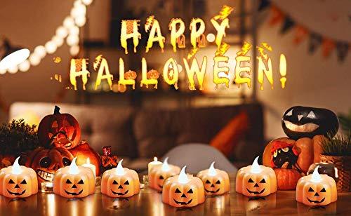 Candele a forma di zucca, 12 candele senza fiamma per Halloween, candele a LED, a batteria, 3D, arancioni, per decorazioni di Halloween, per interni ed esterni