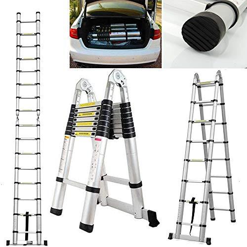 5m Klappleiter Anlegeleiter Teleskopleiter Ausziehleiter Alu Teleskop-Design Mehrzweckleiter, 16 Sprossen, 150 kg Belastbarkeit (2,5+2,5m)