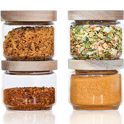 Econovo® Vorratsgläser Set mit Deckel (4-teilig) aus verstärktem Borosilikatglas, stapelbar und luftdicht, Vorratsdosen Glas-Behälter Set für Lebensmittel und Gewürze groß und klein 300ml