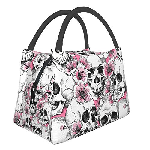 CUAJH Womens Skull Flower Insulated Thermal Lunch Tote Bag, Reusable Lunch Container for Travel Work Office School