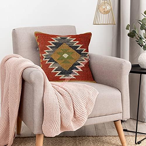 Handicraft Bazarr Funda de almohada tejida a mano, funda de almohada étnica Kelim, funda de cojín para decoración del hogar, cojines de yute indio, 18 x 18 cm, funda de almohada decorativa Kilim