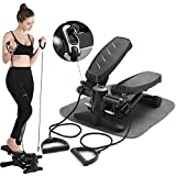 Papepipo Portable Stair Stepper for Exercise - Mini Stepper Fitness Equipment with LCD Monitor, Resistance Bands and Floor Mat (Black)