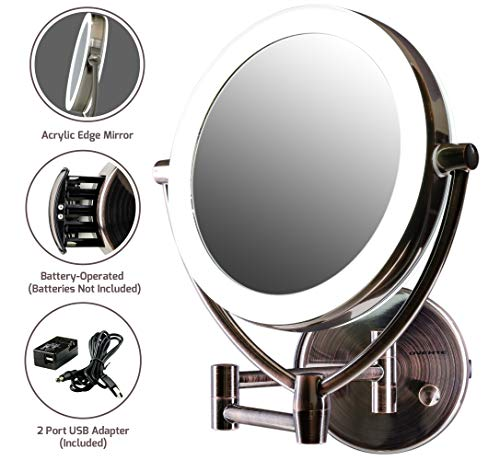 Ovente Wall Mounted Makeup Mirror 7.5 Inch with 10X Magnification and Diffused LED Ring Lights, Double-Sided with 360 Degree Swivel Design, 2 Choices of Power Supply, Antique Brass (MLW75AB1X10X)