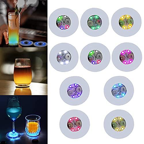 CDIYTOOL Posavasos LED, con luces LED para beber, posavasos de túnel, para iluminación de copa de vino, para cerveza, copa de vino, para el hogar, para fiestas, bodas, bar (paquete de 50)