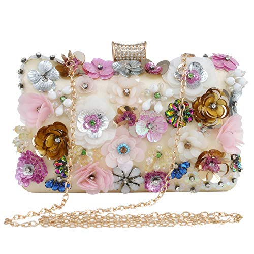 LONGBLE Damen Clutch Blumen Abendtasche Geldbörsen Handtasche mit Elegante 3D Blumen und Straßsteine Deko Umhängetasche Damentasche für Hochzeit Party Dating