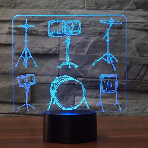 PBNUMBERS Creative Drum Set 3D Table Lamp 7 Color Change Touch Switch Led 3D Night Light Musical Instruments Fans Best Gift