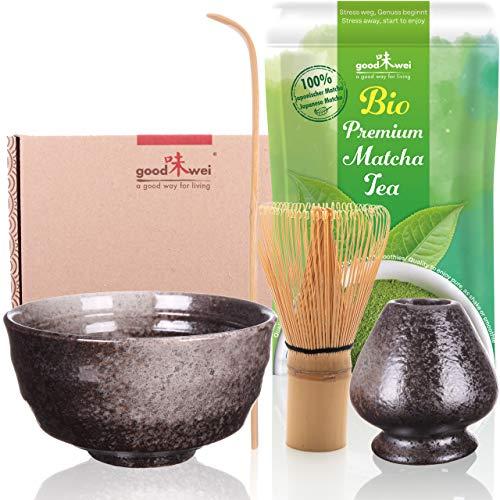 Goodwei Ensemble de Thé Matcha complète incl. 30g thé vert matcha biologique de Japon (Goma)