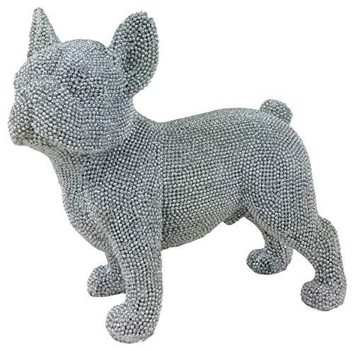 Figura de bulldog francés de purpurina plateada 19cm
