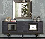 Casa Padrino Art Deco Sideboard Grau/Schwarz/Messingfarben 210 x 44 x H. 86 cm - Edler Schrank mit 4 Türen - Art Deco Möbel