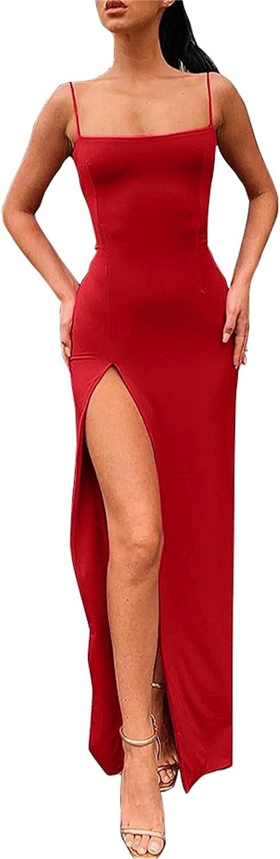 PRIMODA Women's Spaghetti Strap Backless Thigh-high Slit Bodycon Maxi Long Dress Club Party Dress