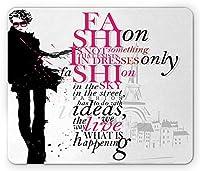 エッフェル塔のマウスパッド滑り止め、パリの女性の秋の心に強く訴える言葉流行のテーマアートプリント、長方形滑り止めゴムマウスパッド滑り止め、、ブラックピンク