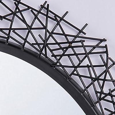 Furnish Craft Round Criss Cross Shaped Iron Wall Mirror (30 x 30 Inch, Black)