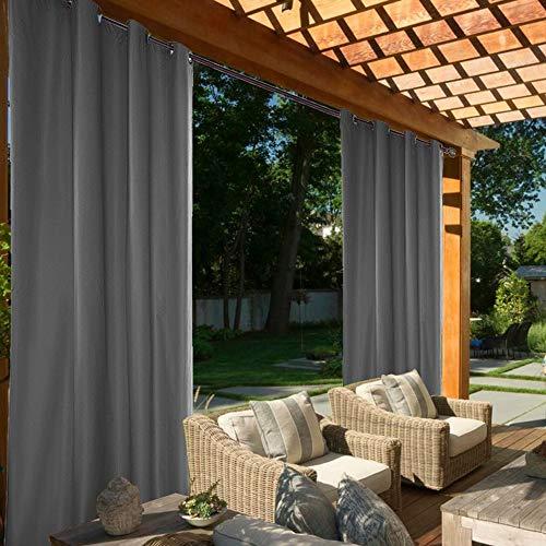 ele ELEOPTION Outdoor Vorhang Wasserdicht,Blickdicht Vorhang Winddicht UV Schutz Sonnenschutz Gardinen für Balkon Garten Hof (137 X 244cm, Grau)