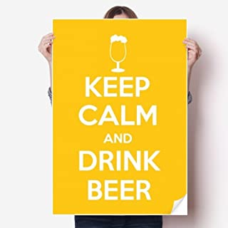 DIYthinker Quote Keep Calm and Drink Beer Yellow Sticker Poster Decal 31x22