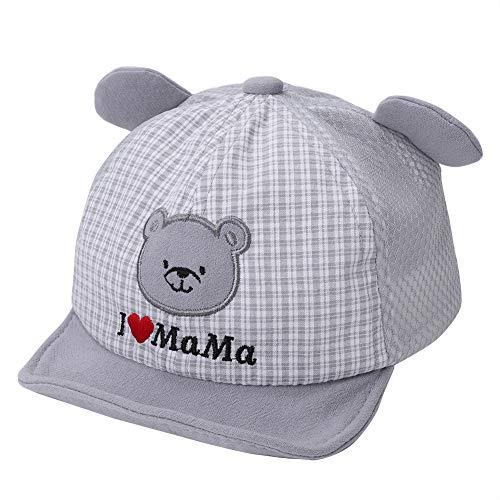 ITODA Sombrero infantil de algodón para bebé, gorro de verano ajustable, para 1 – 2 años de edad, sombrero para niños, niñas, sombrero para el sol, con visera Oso gris. Talla única