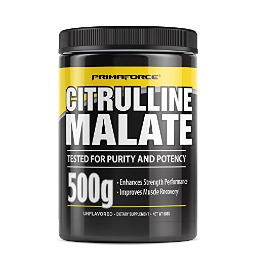 PrimaForce L-Citrulline Malate Powder, Unflavored Pre Workout Supplement, 500 grams - Boosts Energy, Aids Recovery, Enhances Strength Performance – Vegan, Non-GMO, Highest Quality
