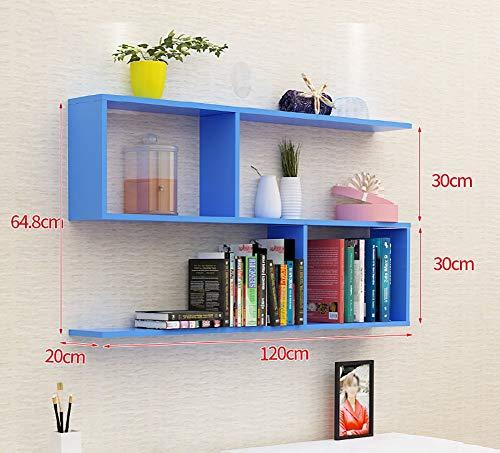 YLCJ Houten boekenkast muur hoek drijvende plank S gevormd boekenkast bloempot rek woonkamer slaapkamer eenheid verdeler opslag displayhouder (kleur: wit)