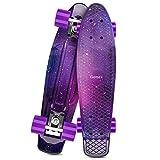 Gonex Skateboard für Kinder Mädchen 22' Penny Board für Erwachsene Jungen Anfänger Mini Cruiser Klein aus Kunststoff, Galaxis Lila