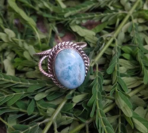925 Silver Ring Caribbean Larimar Gemstone